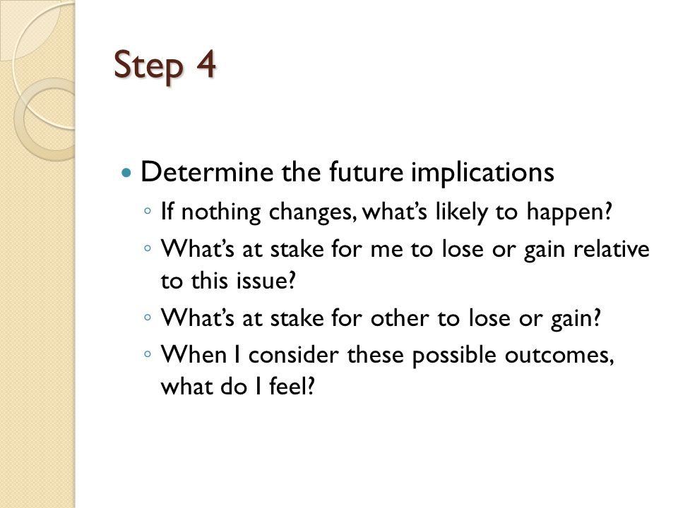 Step 4 Determine the future implications