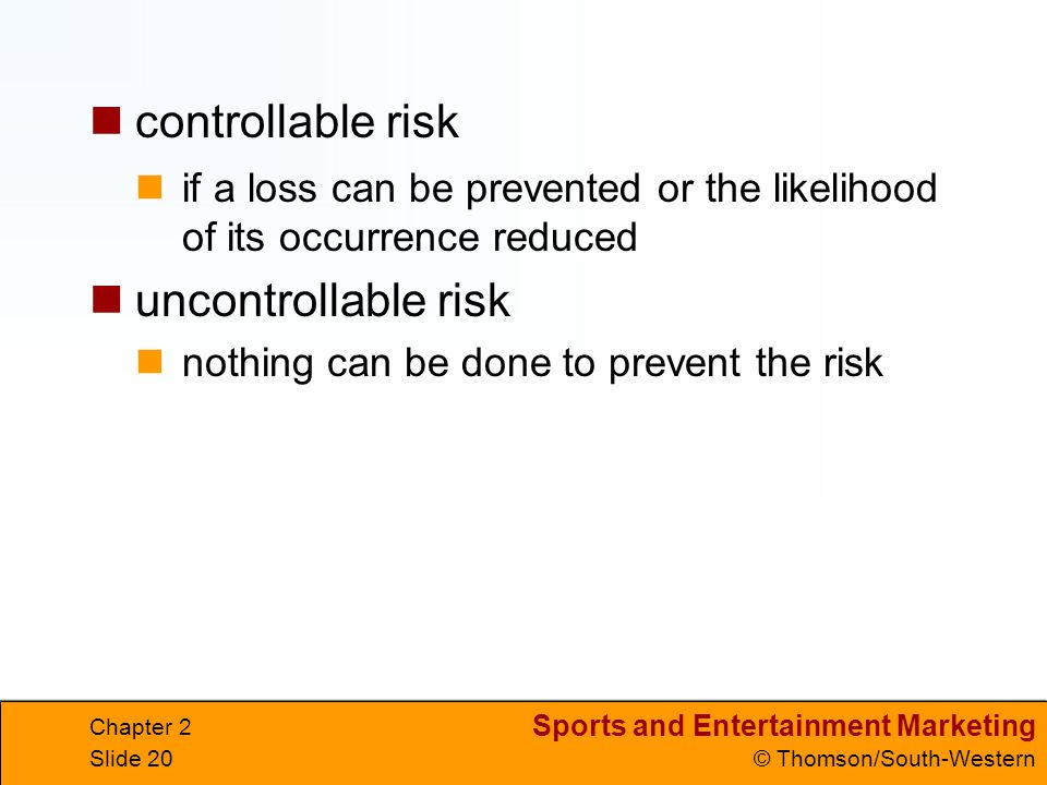 controllable risk uncontrollable risk
