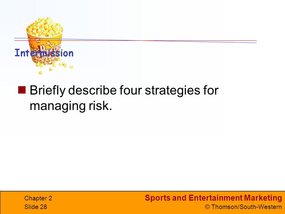 Briefly describe four strategies for managing risk.