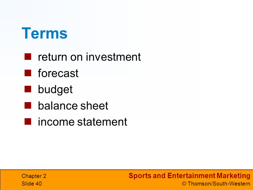 Terms return on investment forecast budget balance sheet