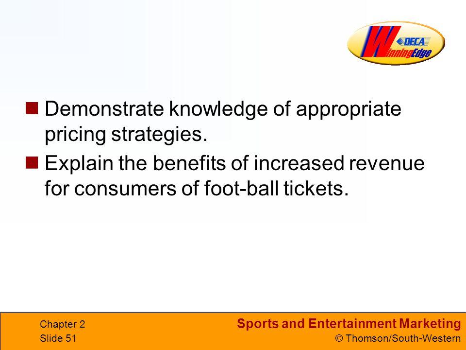 Demonstrate knowledge of appropriate pricing strategies.