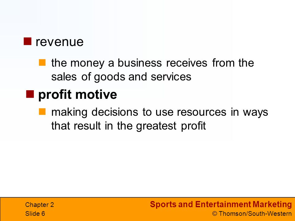 revenue the money a business receives from the sales of goods and services. profit motive.