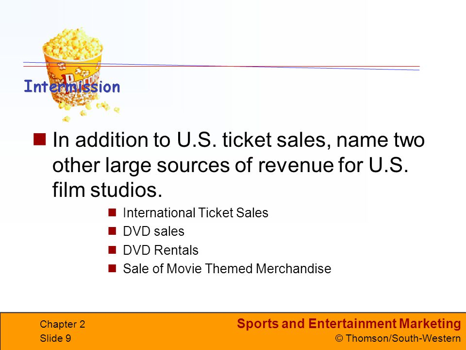 In addition to U.S. ticket sales, name two other large sources of revenue for U.S. film studios.