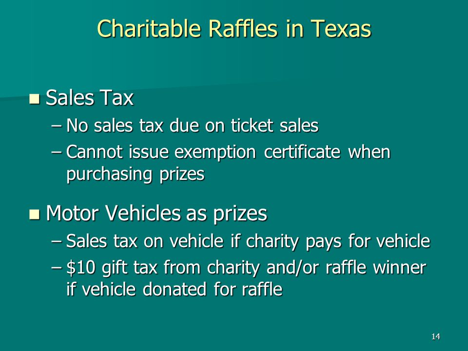 Charitable Raffles in Texas