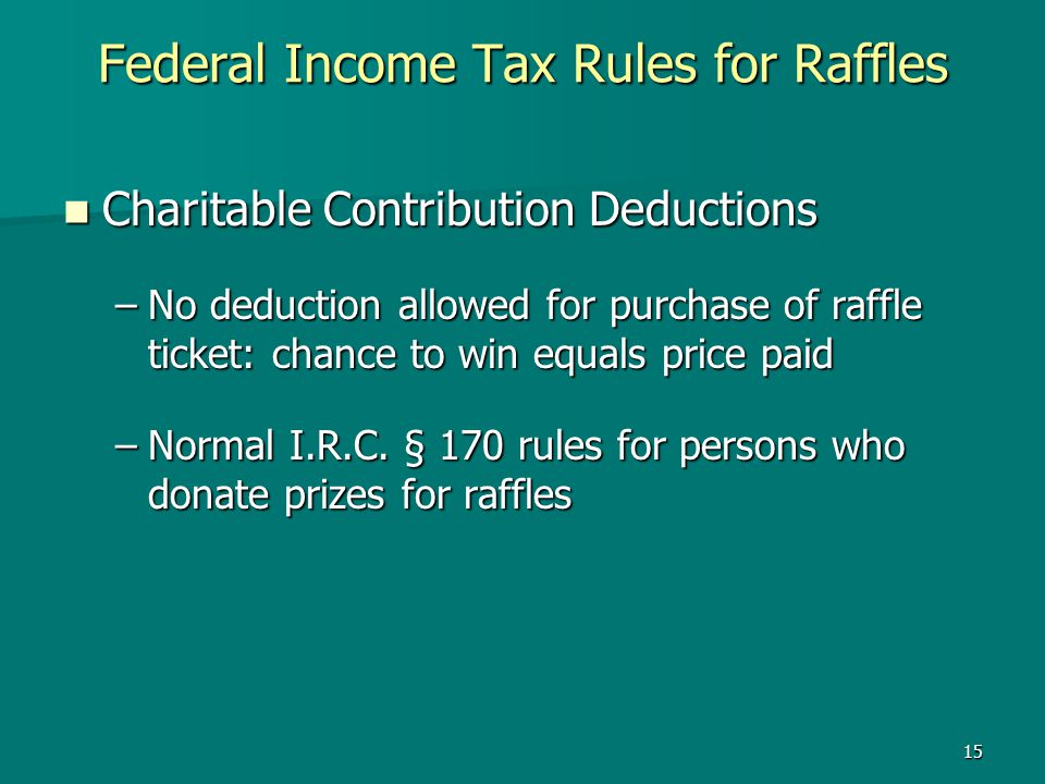 Federal Income Tax Rules for Raffles