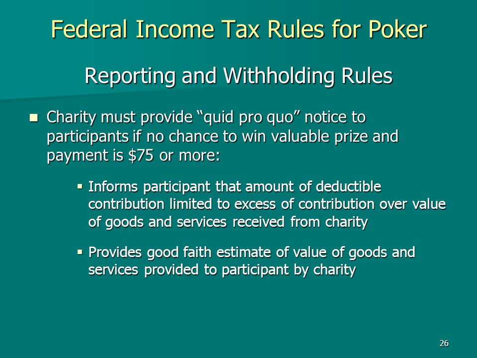 Federal Income Tax Rules for Poker