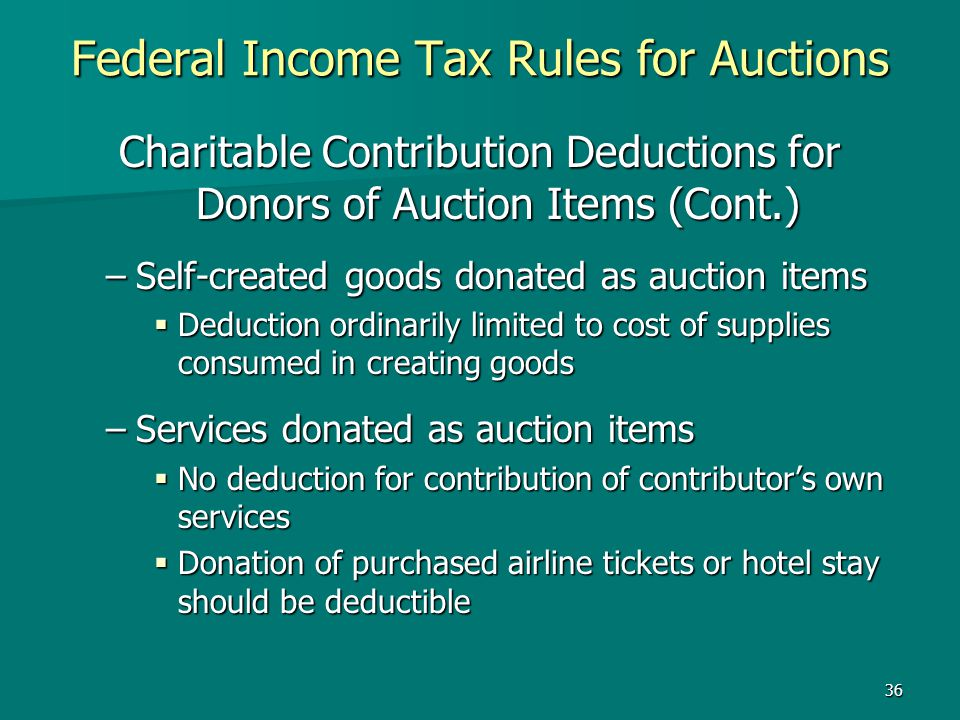 Federal Income Tax Rules for Auctions