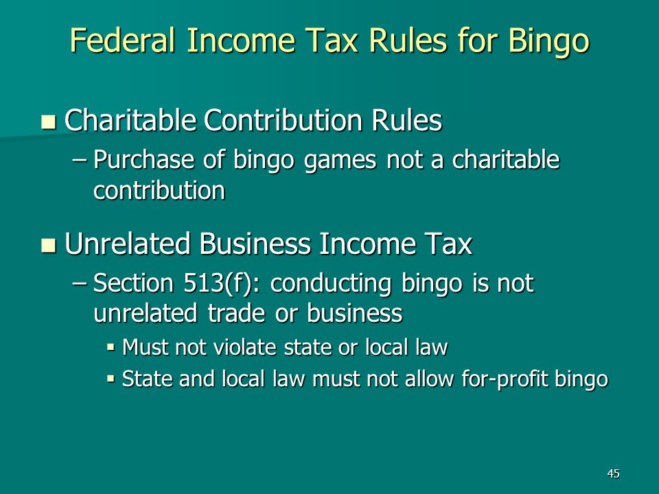 Federal Income Tax Rules for Bingo