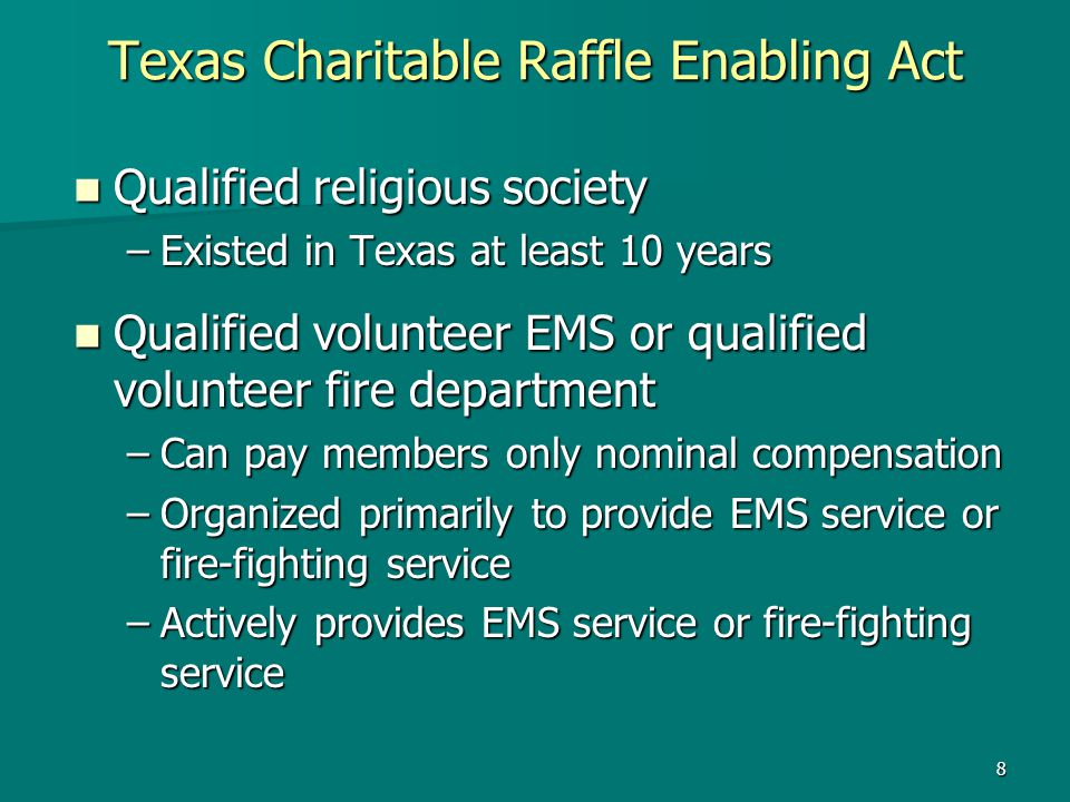 Texas Charitable Raffle Enabling Act