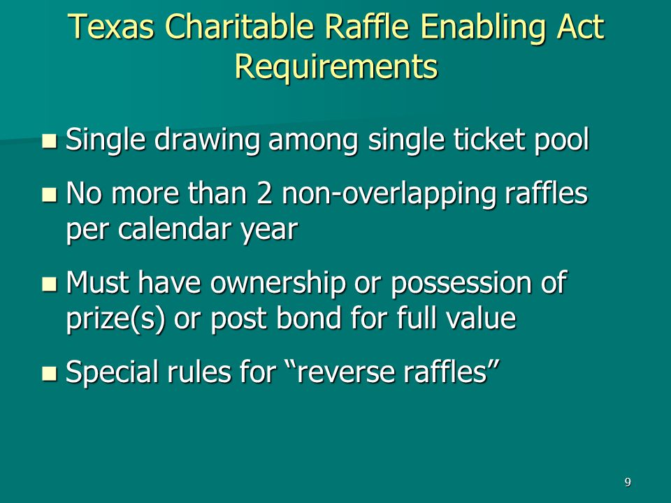 Texas Charitable Raffle Enabling Act Requirements