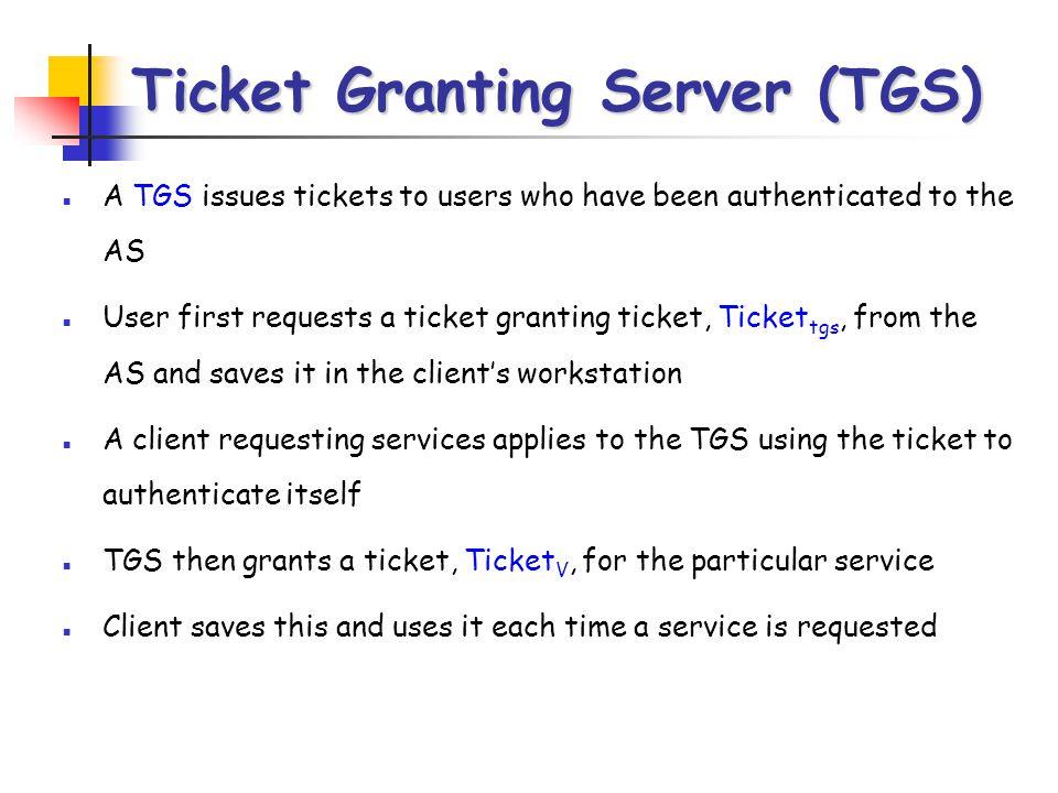 Ticket Granting Server (TGS)