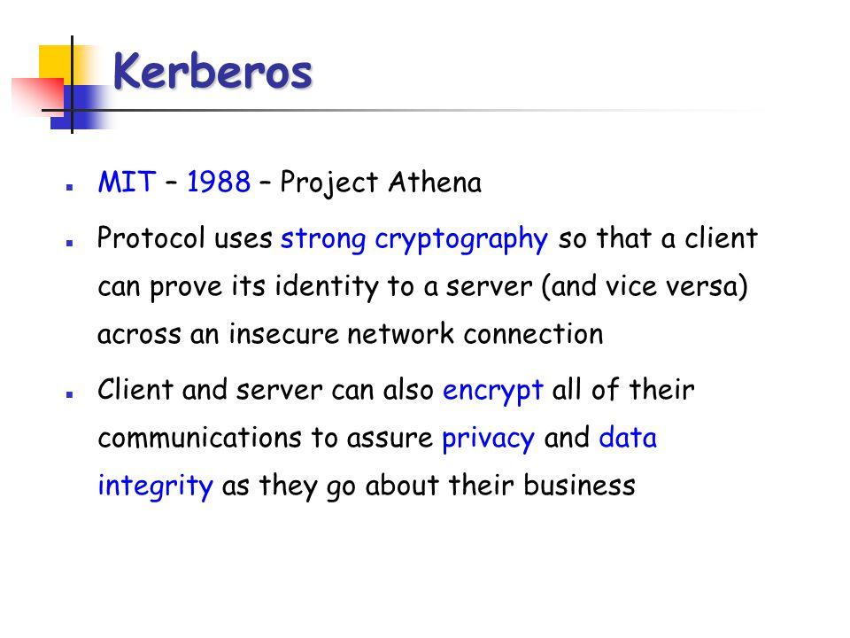 Kerberos MIT – 1988 – Project Athena