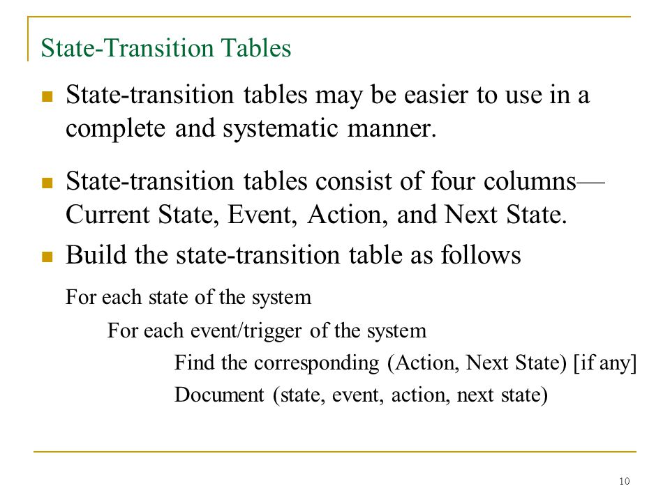 State-Transition Tables