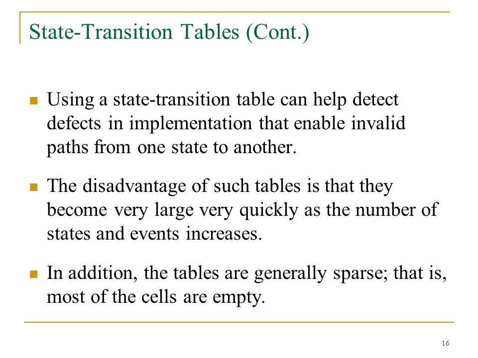 State-Transition Tables (Cont.)