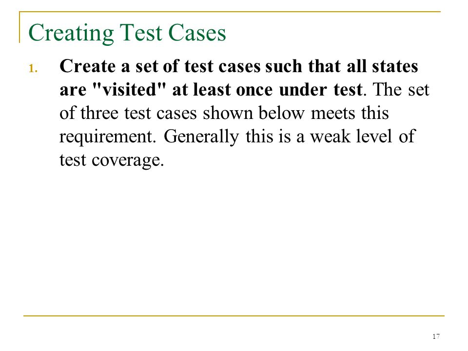 Creating Test Cases