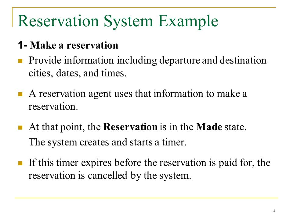 Reservation System Example