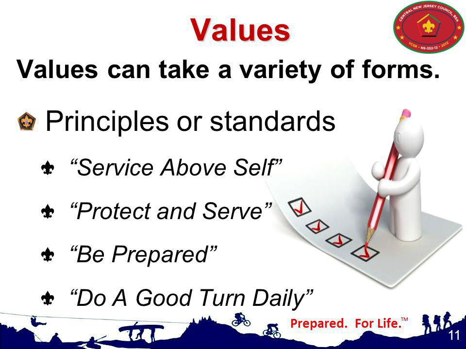 Values Principles or standards Values can take a variety of forms.