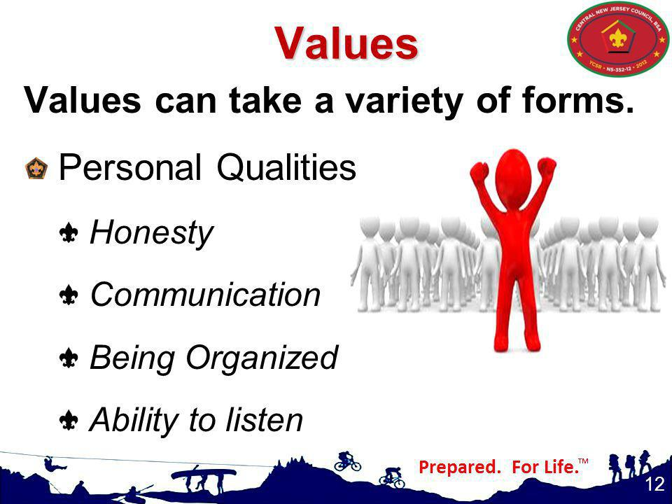 Values Values can take a variety of forms. Personal Qualities Honesty