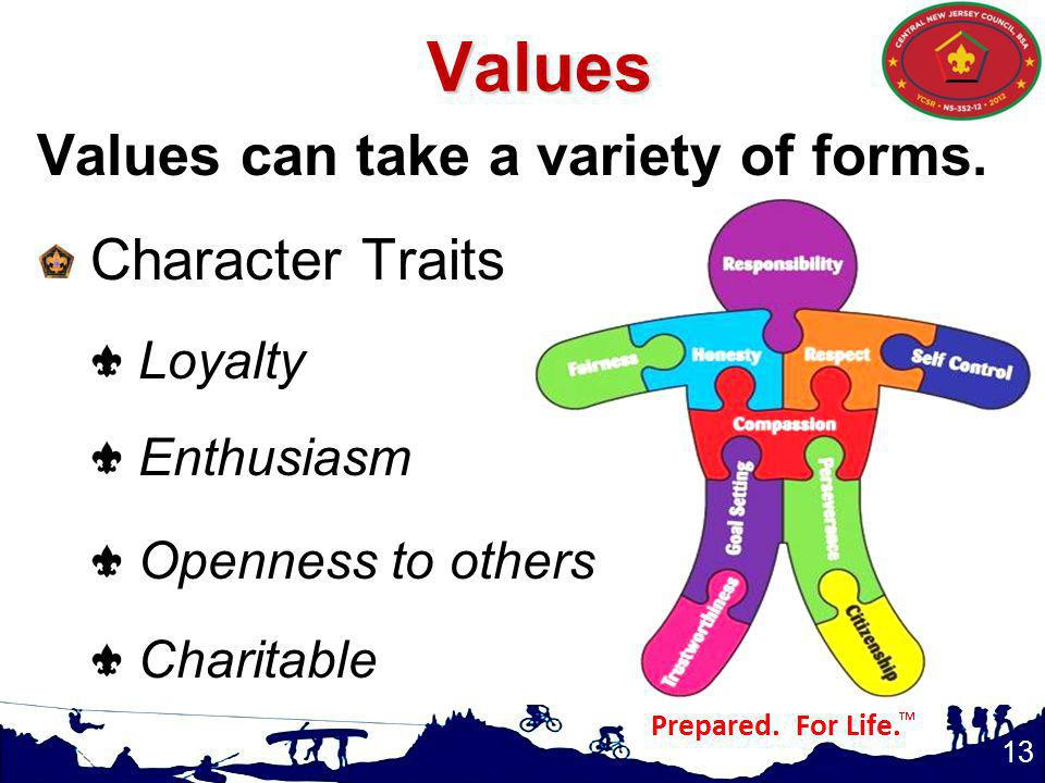Values Values can take a variety of forms. Character Traits Loyalty