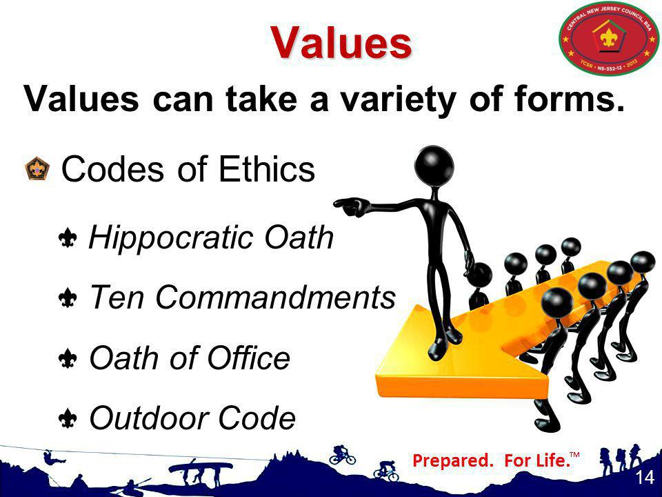 Values Values can take a variety of forms. Codes of Ethics