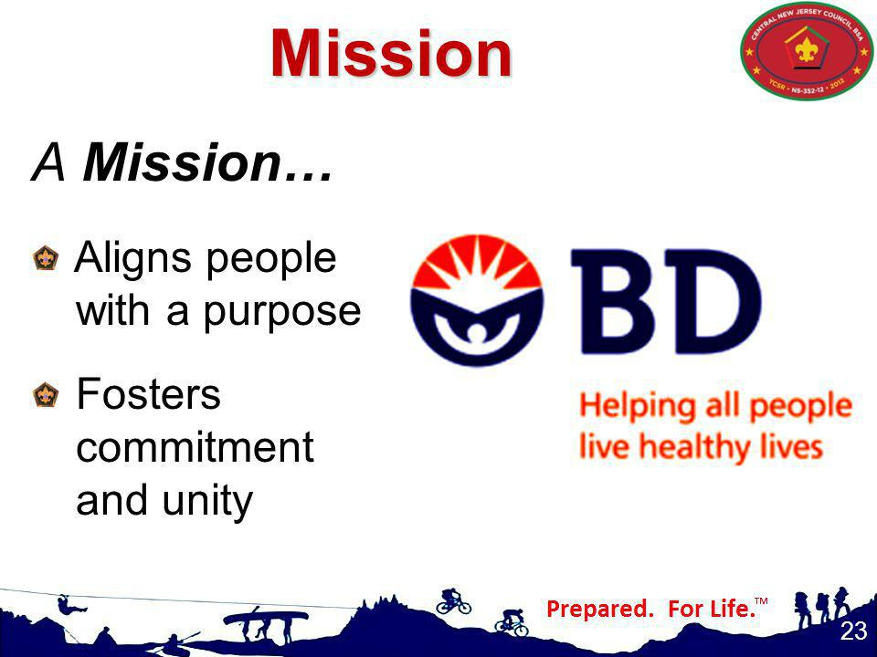 Mission A Mission… Aligns people with a purpose