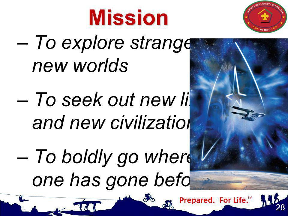 Mission To explore strange new worlds