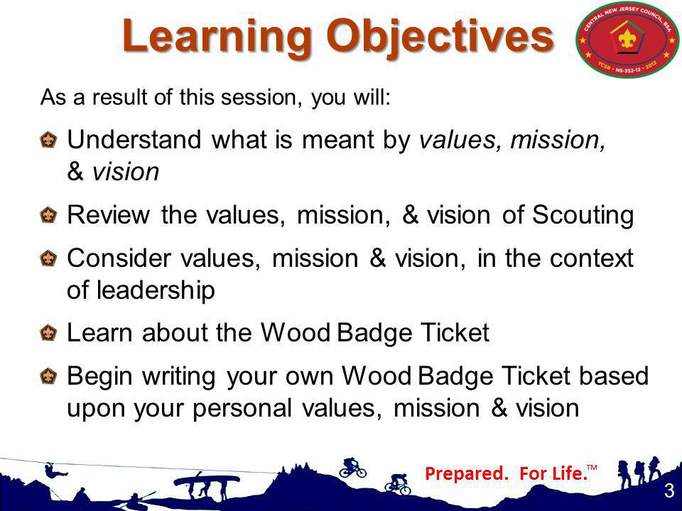 Learning Objectives As a result of this session, you will: Understand what is meant by values, mission, & vision.