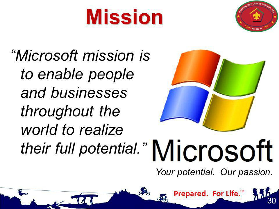 Mission Microsoft mission is to enable people and businesses throughout the world to realize their full potential.
