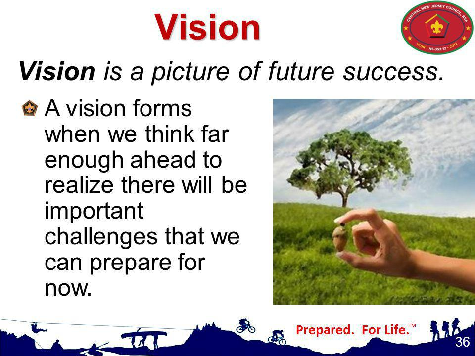 Vision Vision is a picture of future success.