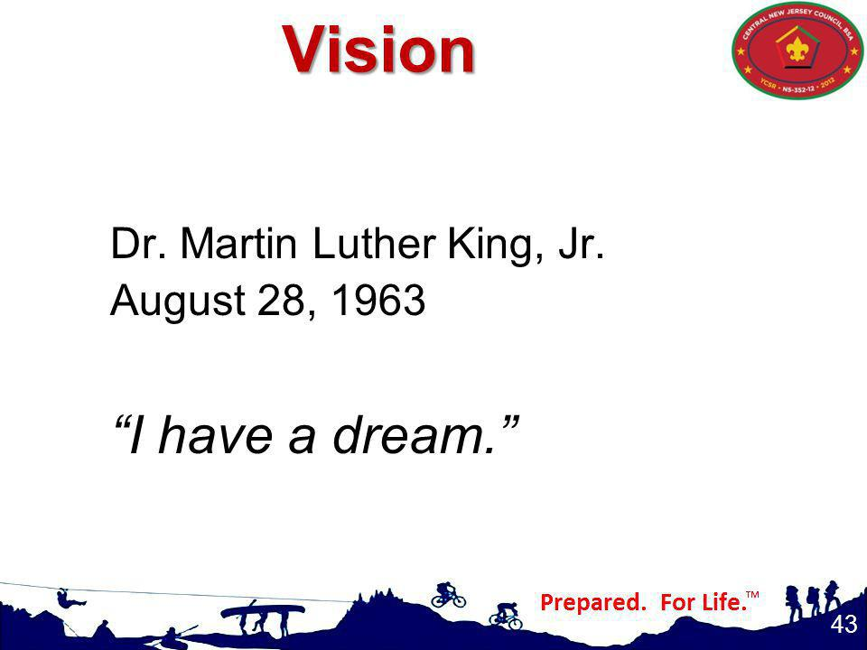 Vision I have a dream. Dr. Martin Luther King, Jr. August 28, 1963