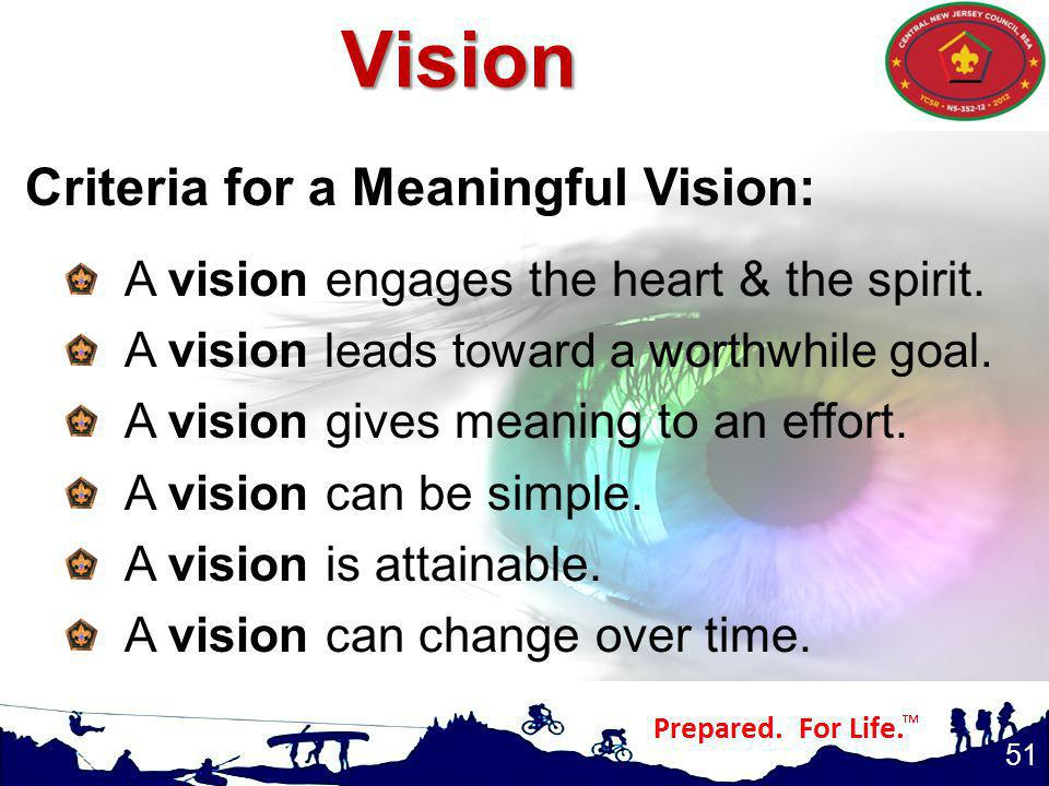 Vision Criteria for a Meaningful Vision: