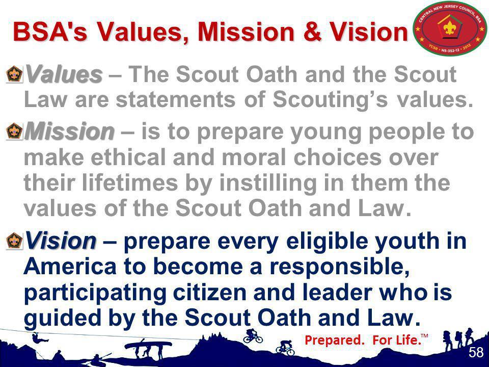 BSA s Values, Mission & Vision