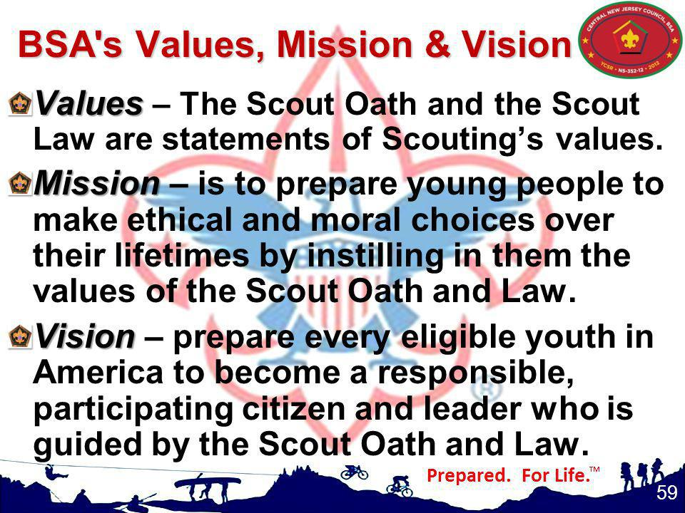 BSA s Values, Mission & Vision
