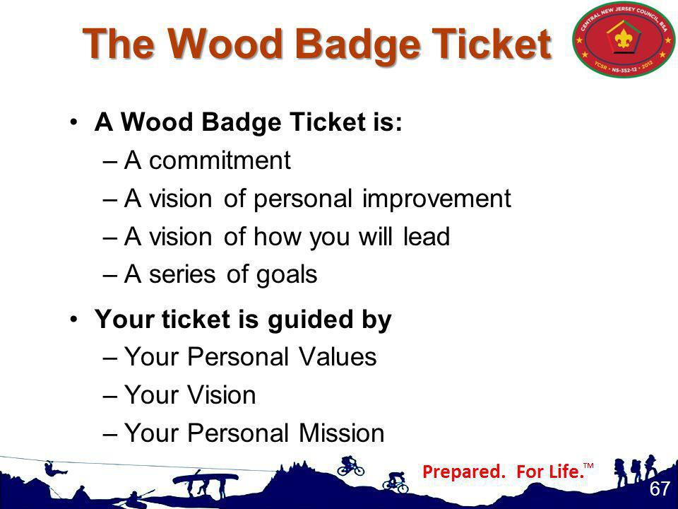 The Wood Badge Ticket A Wood Badge Ticket is: A commitment