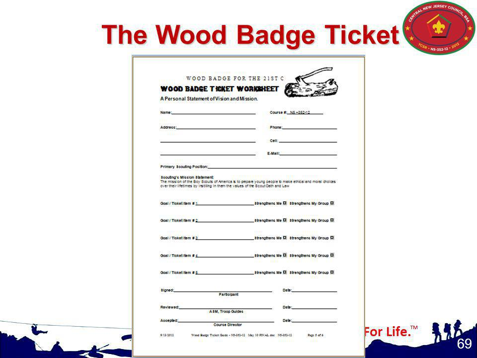 The Wood Badge Ticket Values, Mission, and Vision