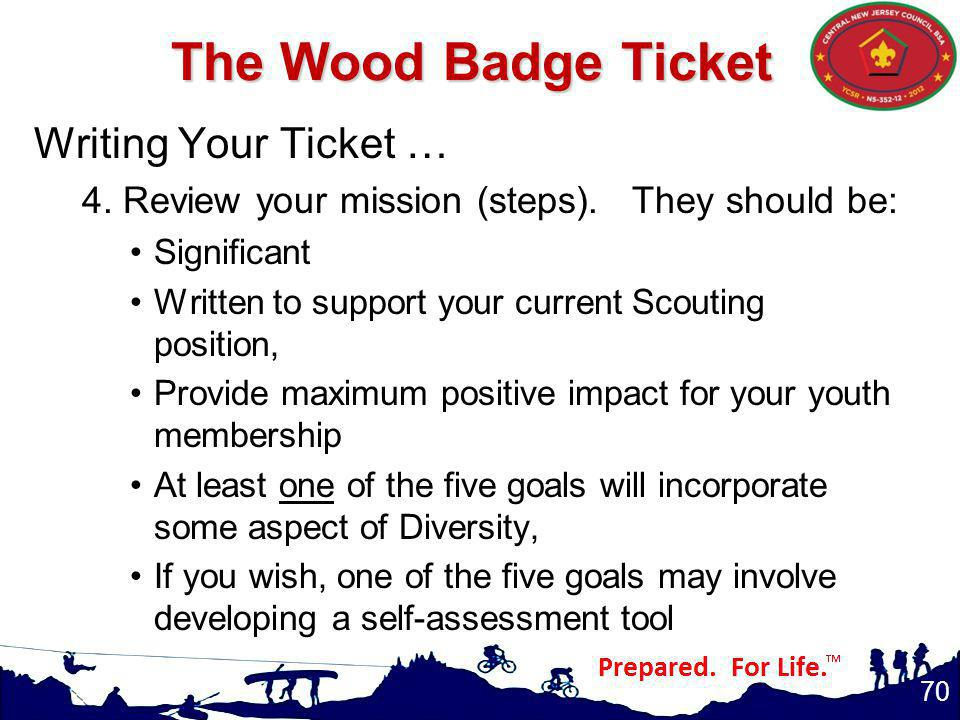 The Wood Badge Ticket Writing Your Ticket …
