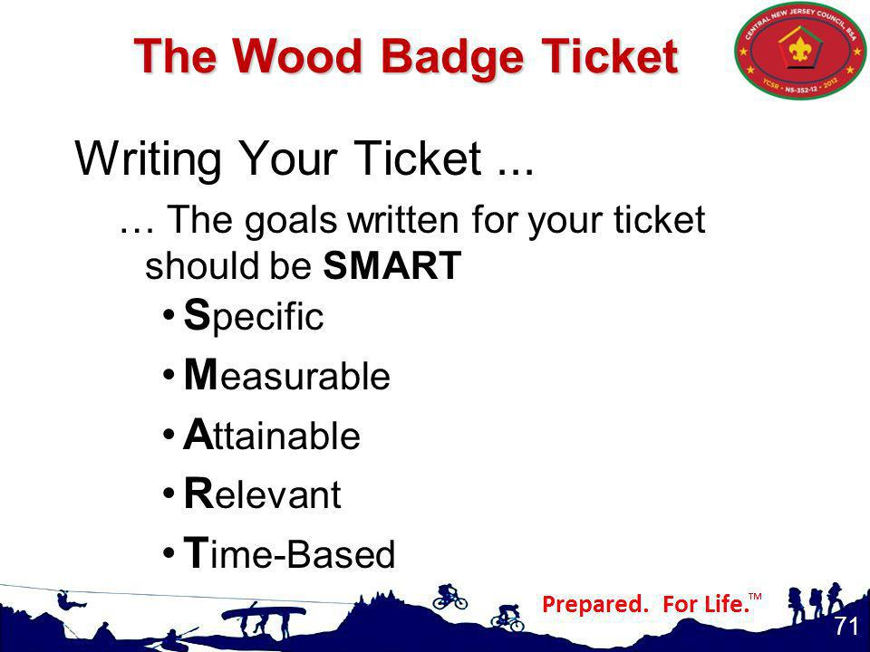 The Wood Badge Ticket Writing Your Ticket ... Specific Measurable