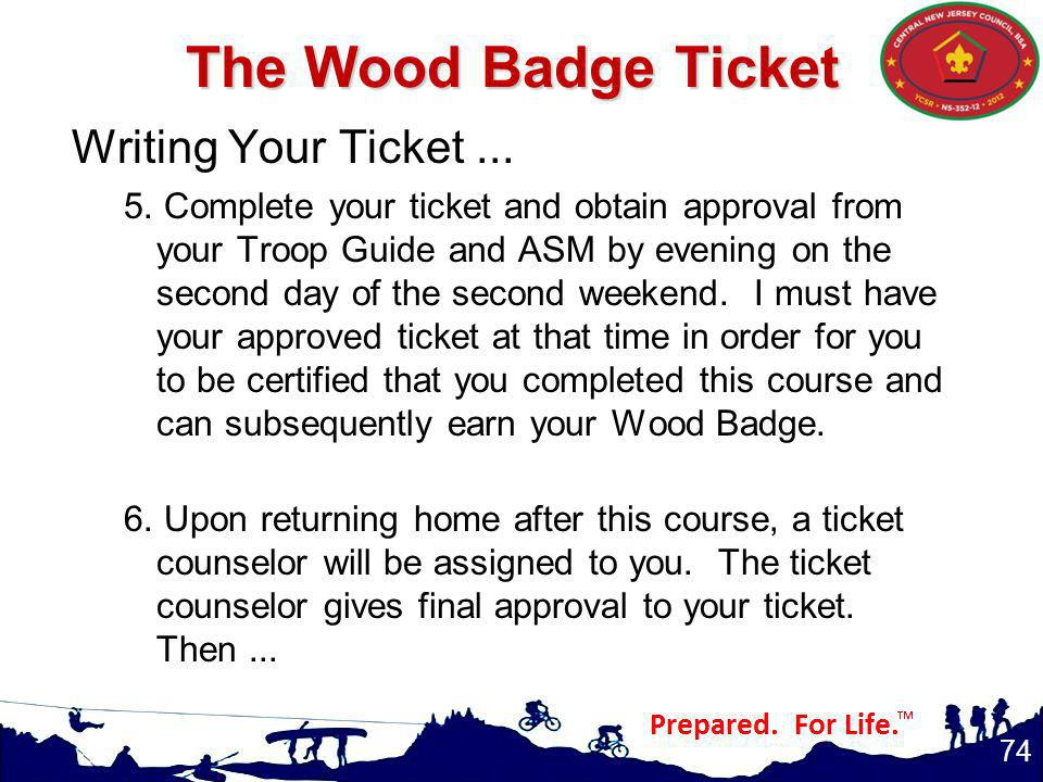 The Wood Badge Ticket Writing Your Ticket ...