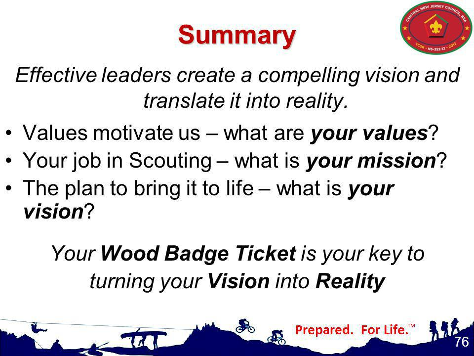 Summary Effective leaders create a compelling vision and translate it into reality. Values motivate us – what are your values