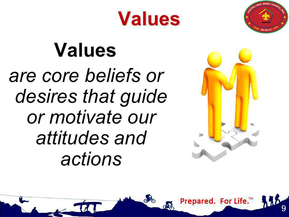 Values Values are core beliefs or desires that guide or motivate our attitudes and actions