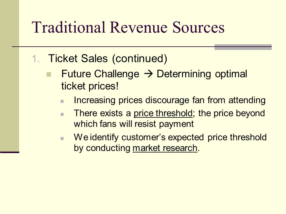 Traditional Revenue Sources