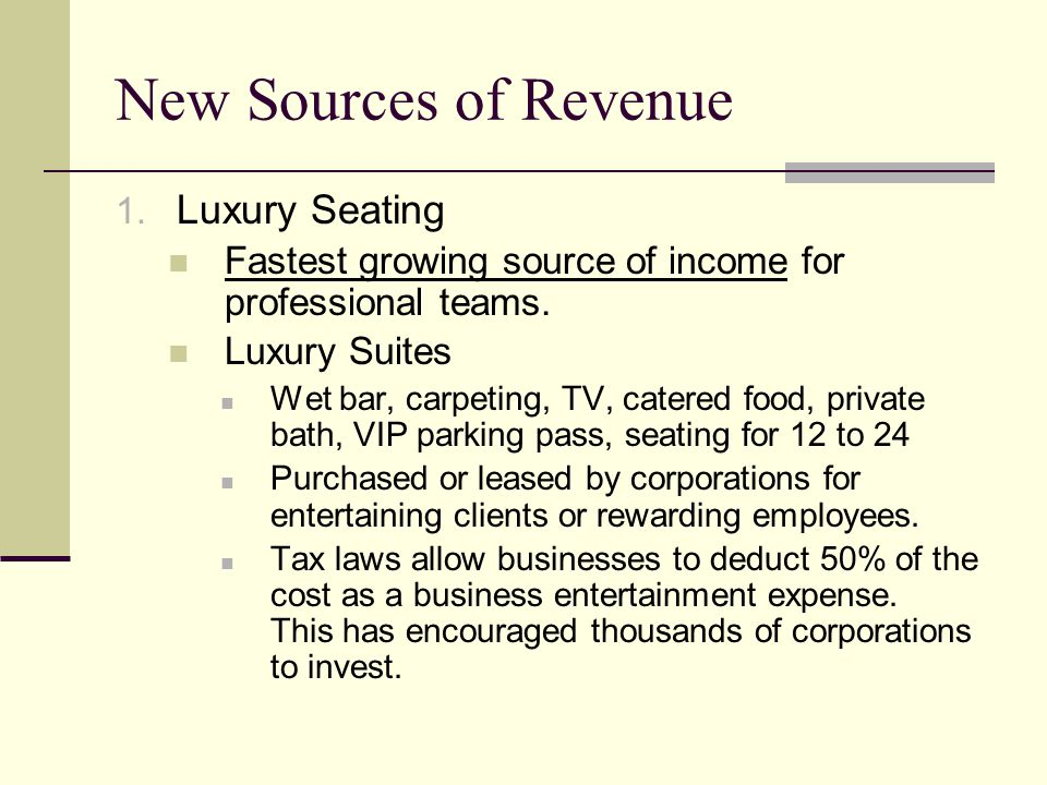 New Sources of Revenue Luxury Seating