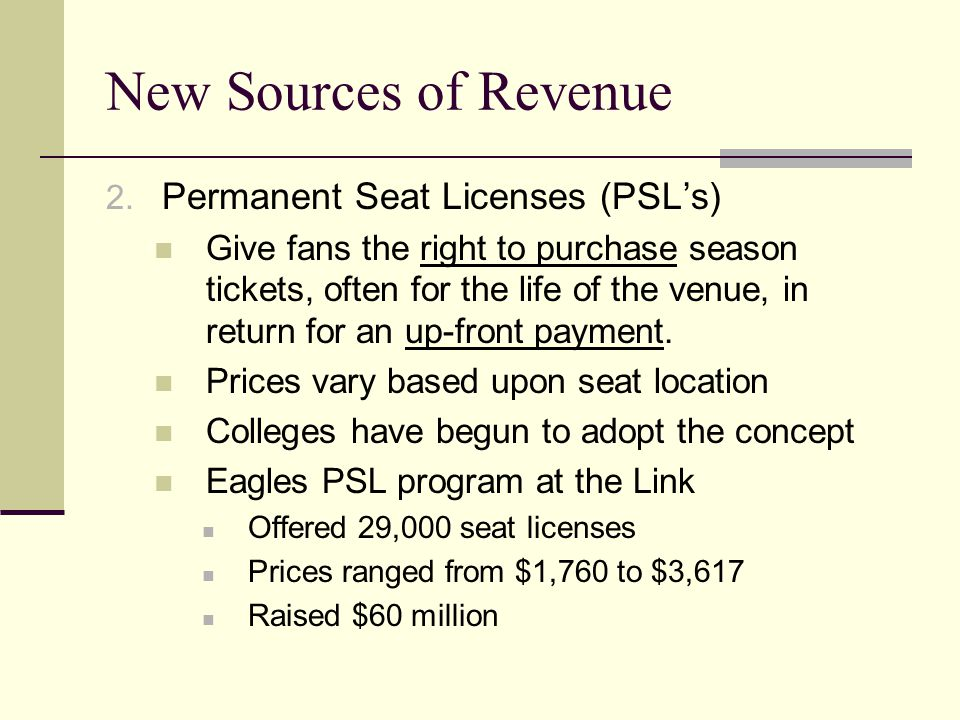 New Sources of Revenue Permanent Seat Licenses (PSL's)