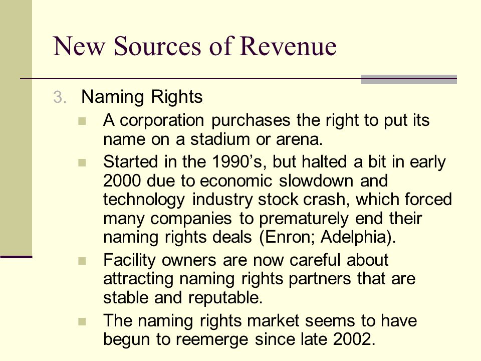 New Sources of Revenue Naming Rights