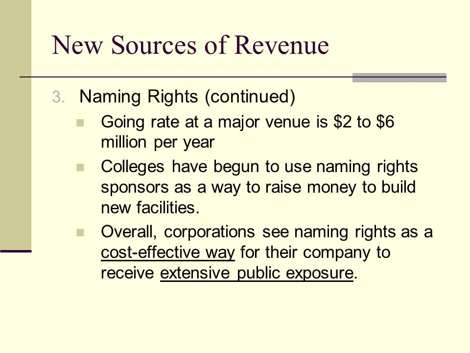 New Sources of Revenue Naming Rights (continued)