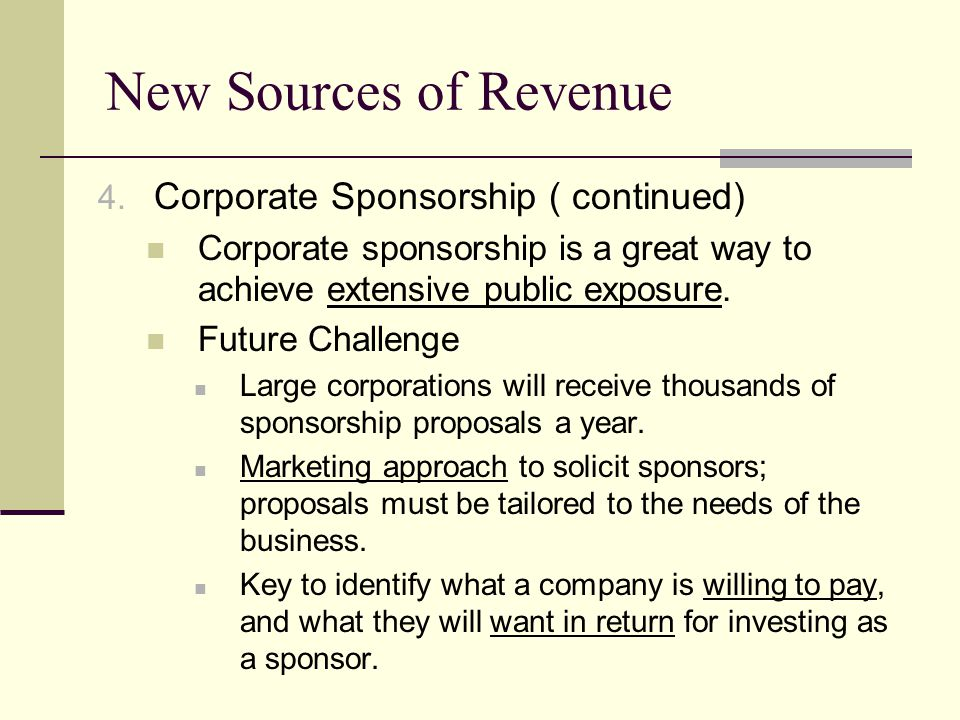 New Sources of Revenue Corporate Sponsorship ( continued)