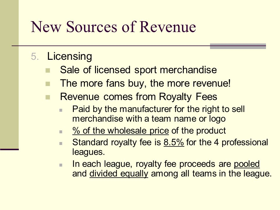 New Sources of Revenue Licensing Sale of licensed sport merchandise