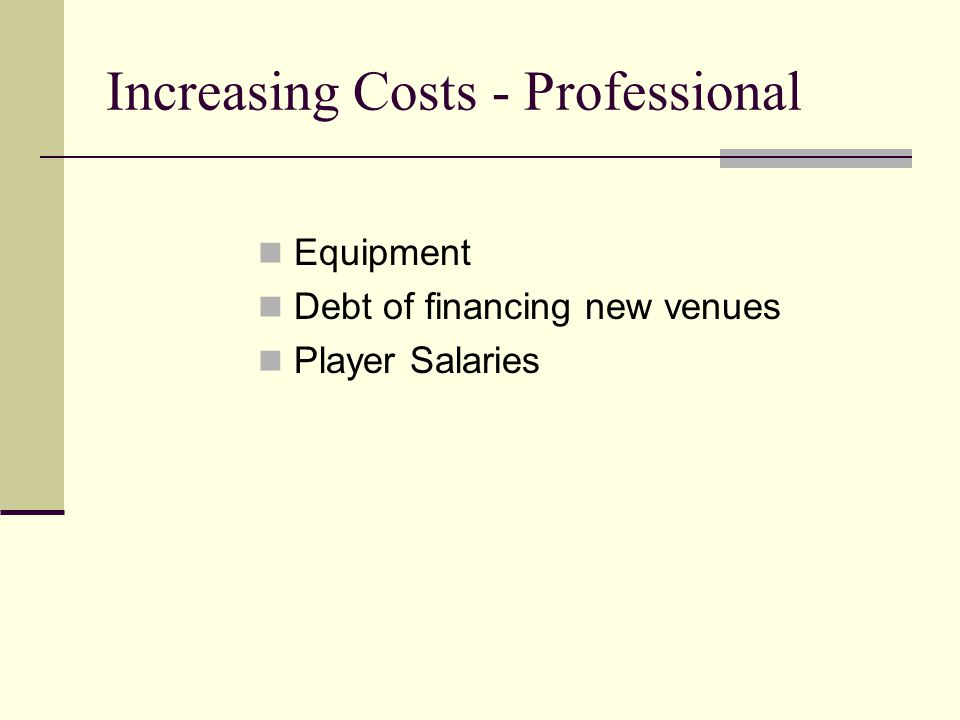 Increasing Costs - Professional