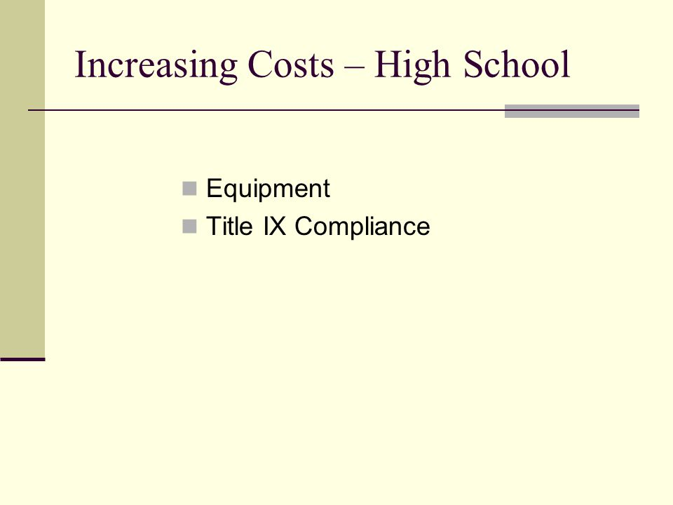 Increasing Costs – High School