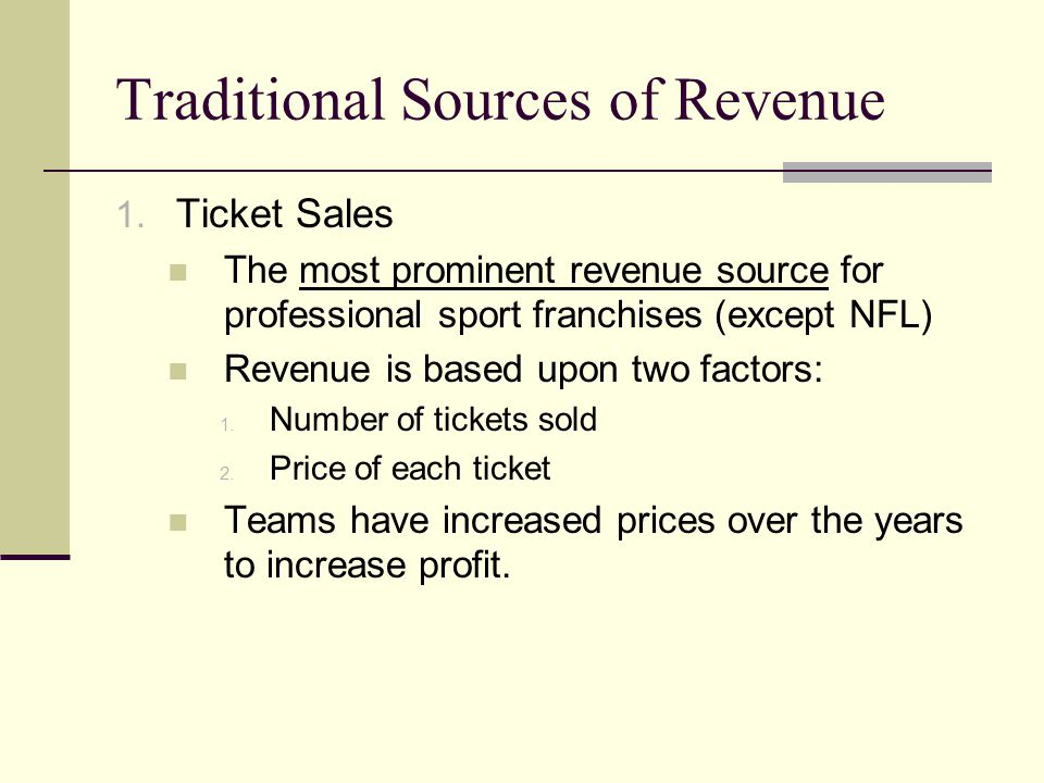 Traditional Sources of Revenue